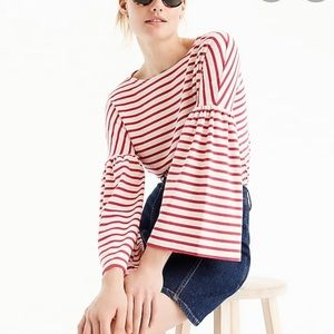 J.Crew red striped bell sleeve T-shirt